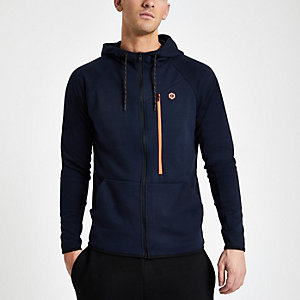 Jack & Jones navy zip up hoodie