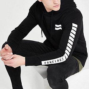 Jack and Jones - Zwarte hoodie met print op de rug