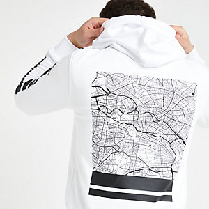 Jack and Jones white back print hoodie