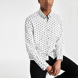 Jack & Jones – Weißes Langarmhemd mit Print