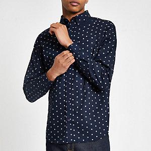 Jack & Jones – Marineblaues, gepunktetes Hemd