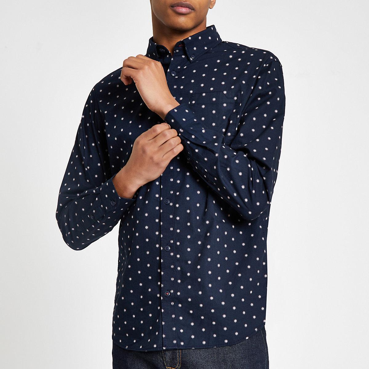 Jack & Jones navy spot shirt