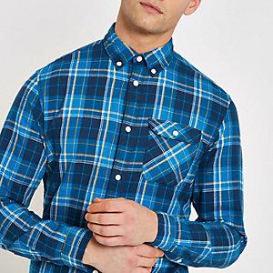 Jack & Jones – Chemise à carreaux bleue
