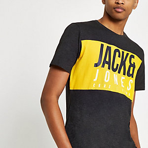 Jack & Jones Jonas black logo print T-shirt