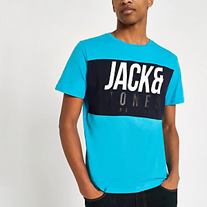 Jack & Jones – Jonas – Blaues T-Shirt mit Logo