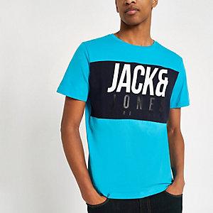 Jack & Jones – Jonas – T-shirt bleu à logo