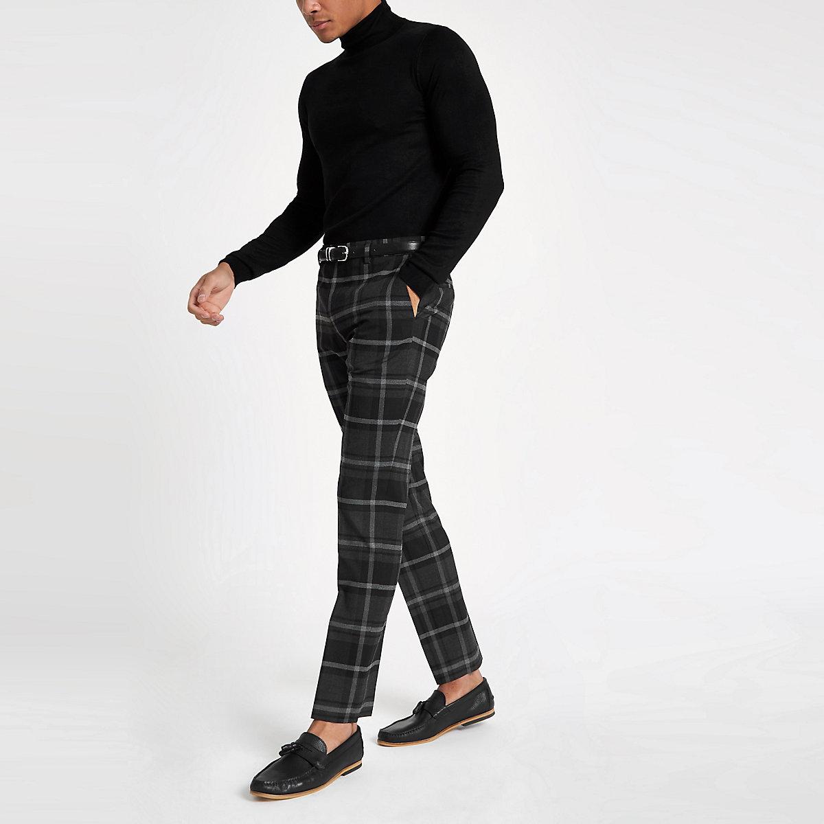 Grey check slim fit smart pants