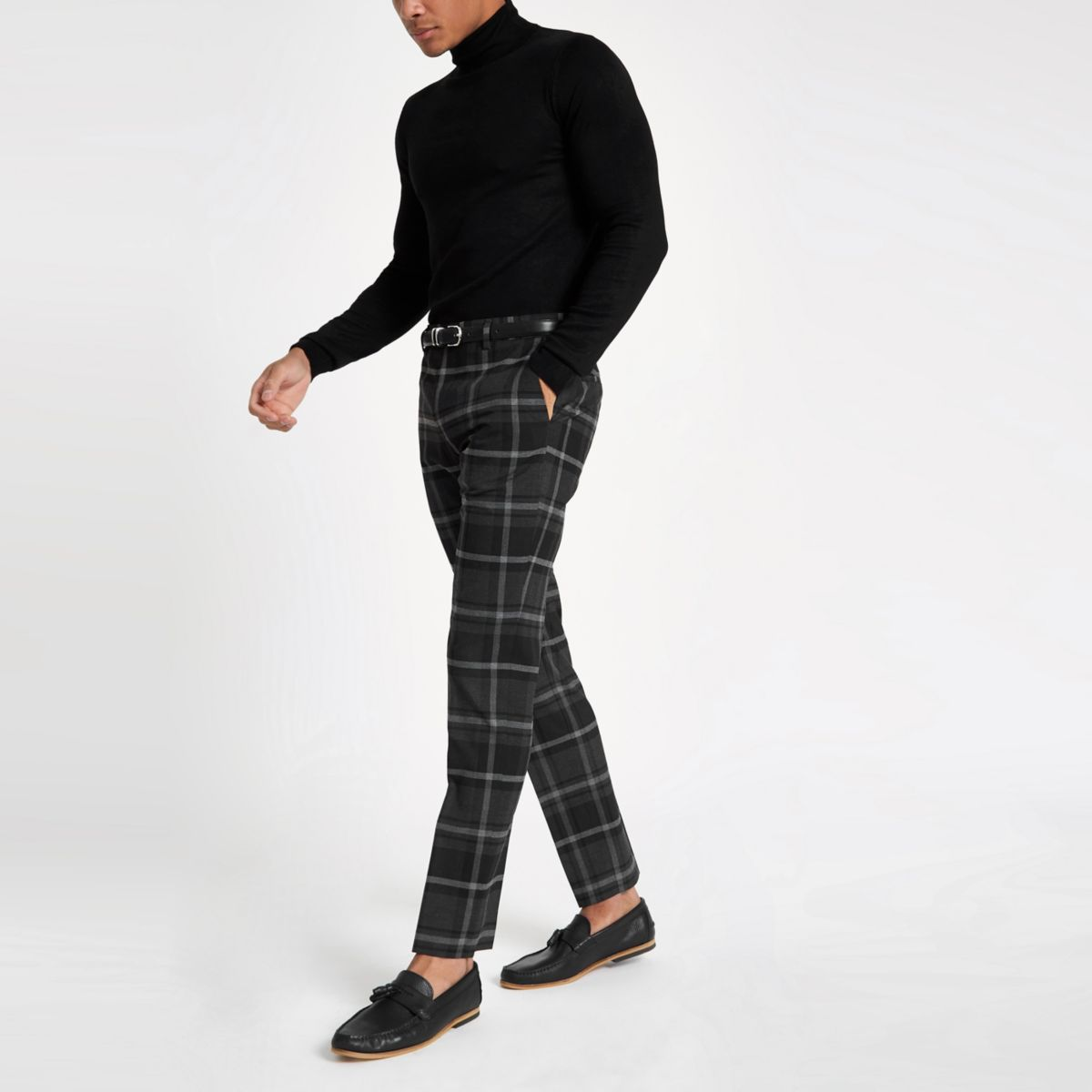 Grey check slim fit smart trousers