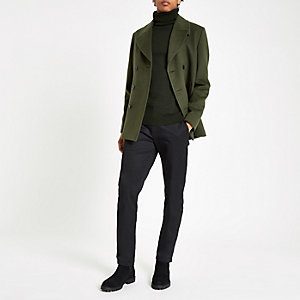 Khaki double breasted peacoat