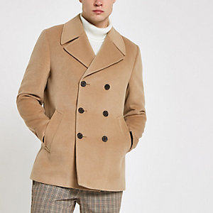 Light brown double breasted peacoat