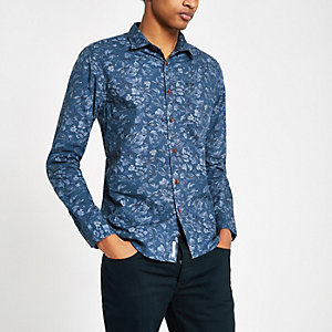 Pepe Jeans – Blaues, geblümtes Hemd