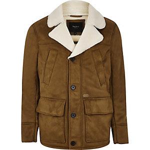 Pepe Jeans – Veste marron à doublure peau de mouton