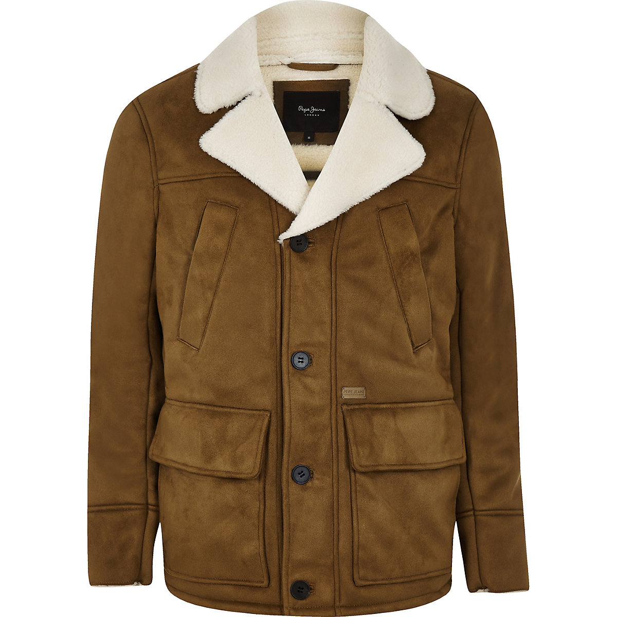 Pepe Jeans brown fleece line jacket