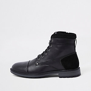 Black fleece trim lace-up boots