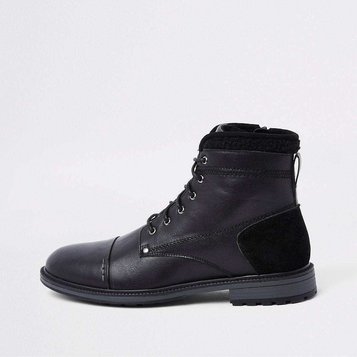 Black fleece trim lace-up boots