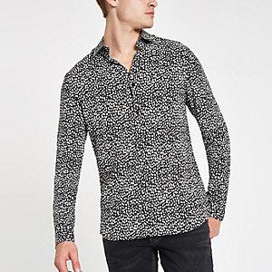 Zwart overhemd met luipaardprint en lange mouwen