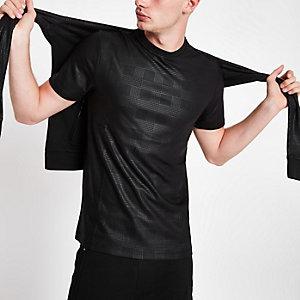 Schwarzes, kariertes T-Shirt mit Rundhalsausschnitt