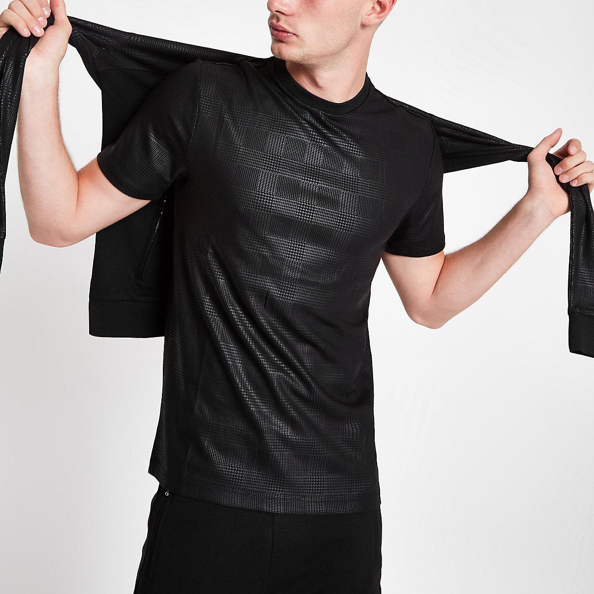 Black tonal check crew neck T-shirt