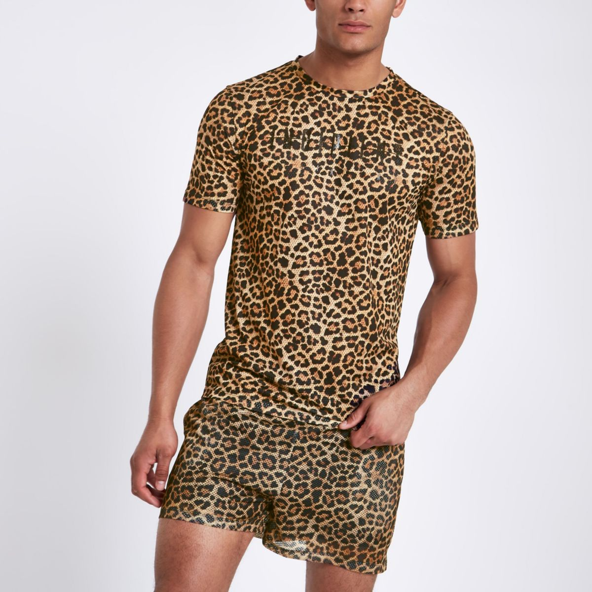 Brown slim fit leopard print T-shirt