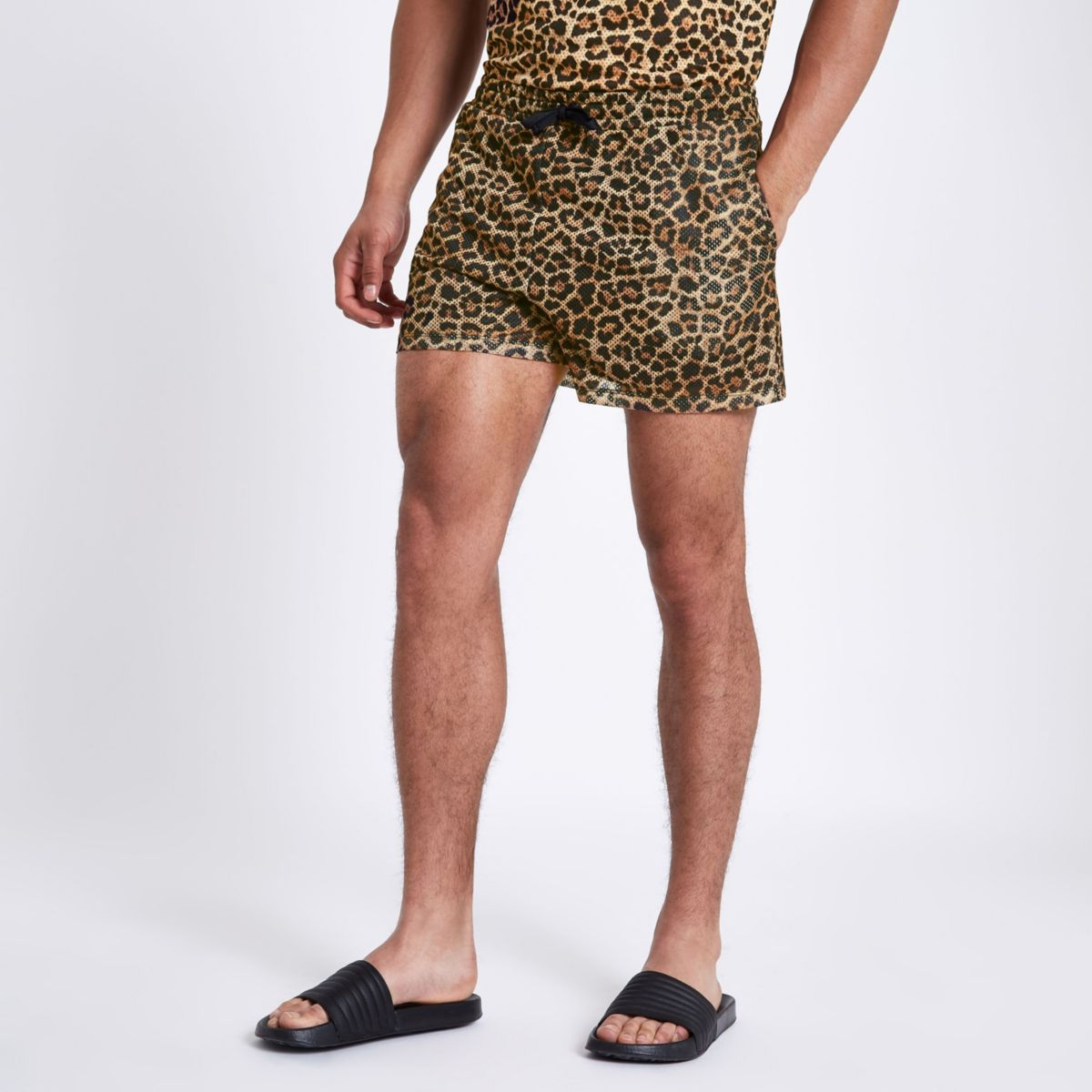Brown leopard print slim fit mesh shorts