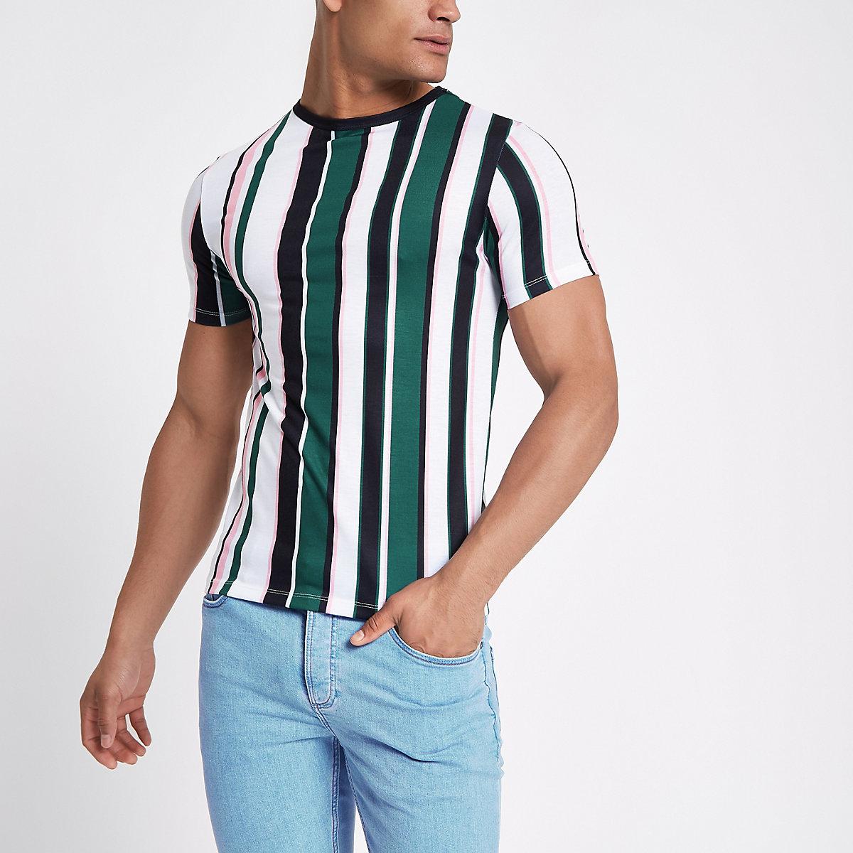 Green stripe crew neck T-shirt