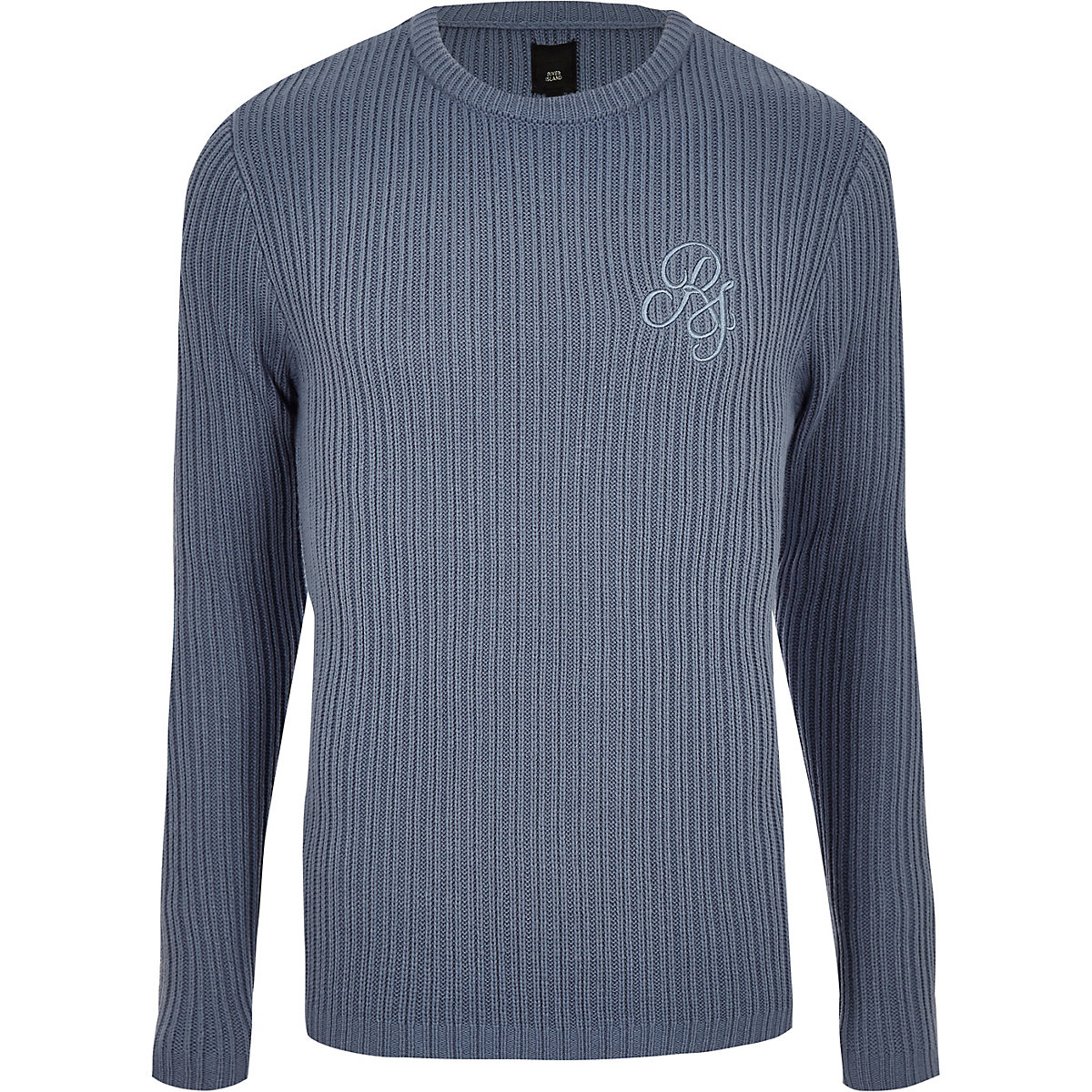 Light blue muscle fit rib crew neck jumper