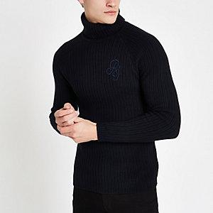 Marineblauwe aansluitende geribbelde pullover met col