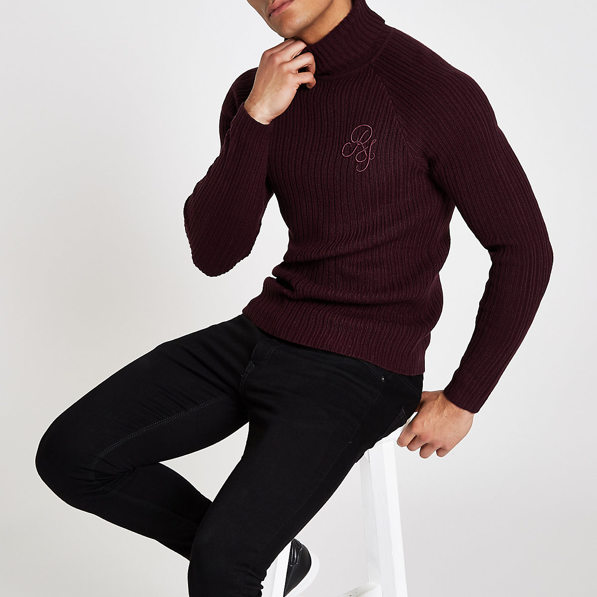 Dark red muscle fit rib roll neck sweater