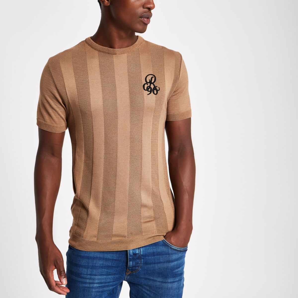 Light brown muscle fit 'R96' T-shirt