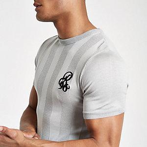 T-shirt ajusté gris avec borderie R96