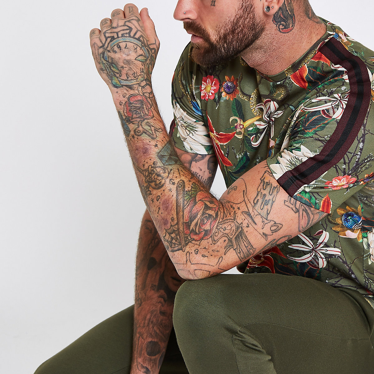 Green slim fit floral tape T-shirt