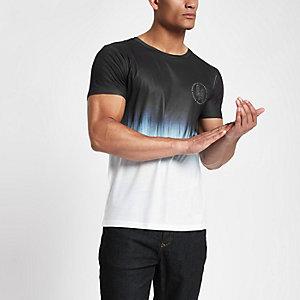 T-shirt slim imprimé dégradé blanc