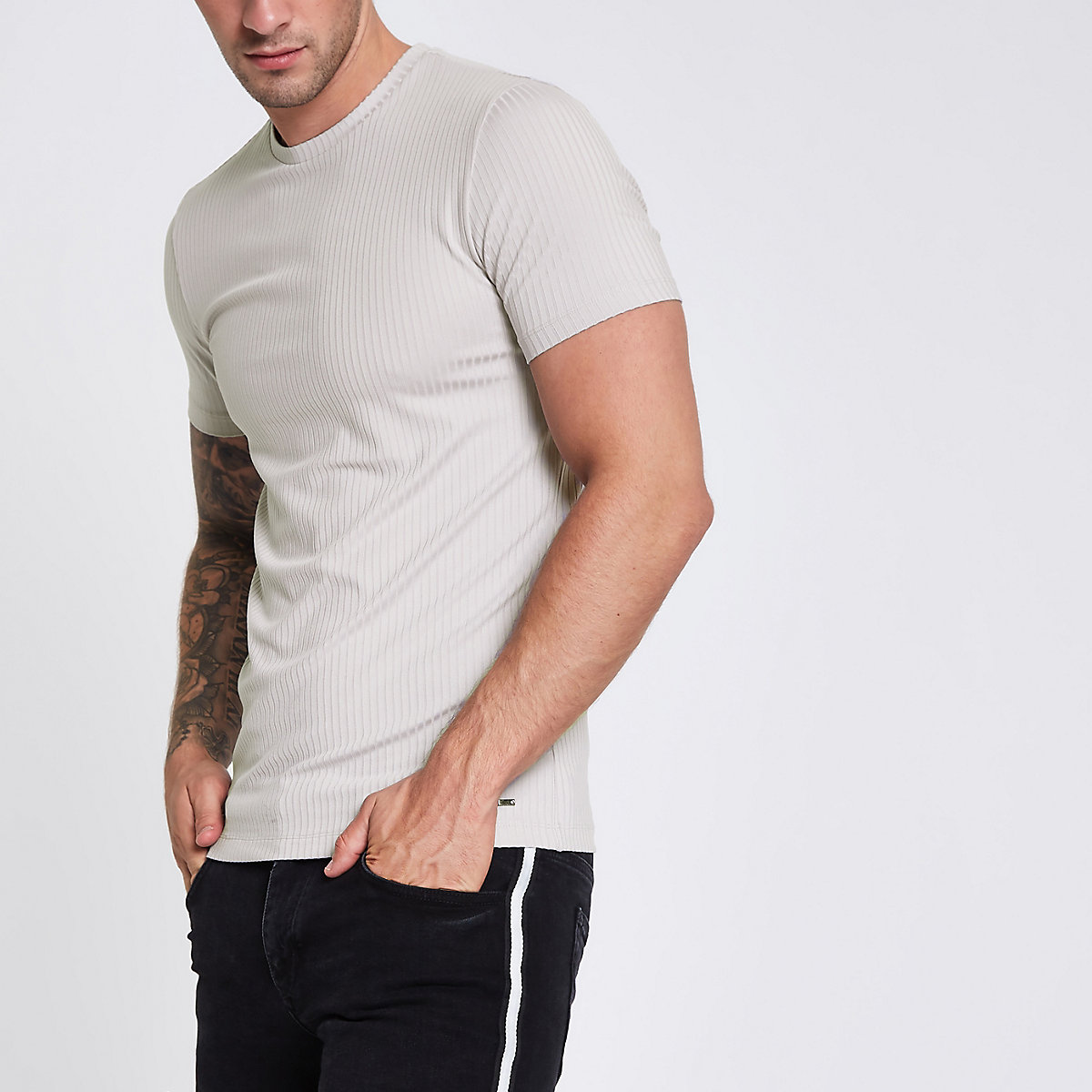 Light grey ribbed muscle fit T-shirt