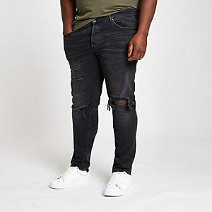 Big & Tall – Schwarze Skinny Jeans im Used Look