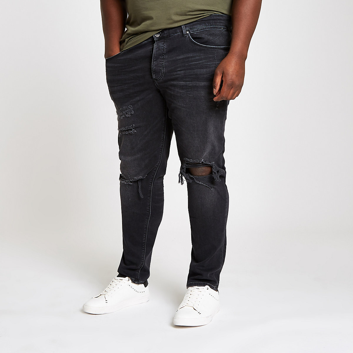 Big and Tall black ripped skinny jeans