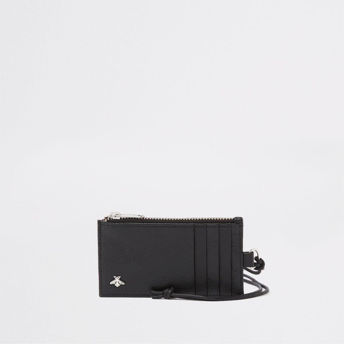 Black leather lanyard card holder
