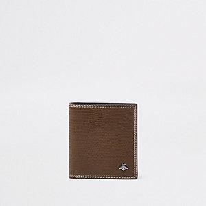Bruine uitvouwbare portemonnee met contrasterende slangenprint in reliëf