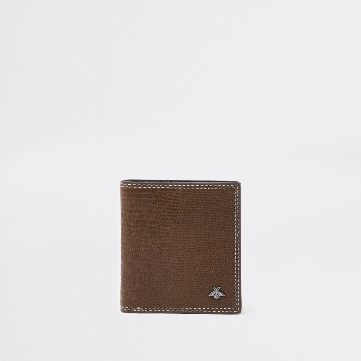 Brown contrast snake embossed fold out wallet