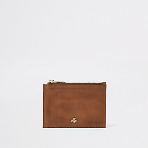 Brown zip bee card holder