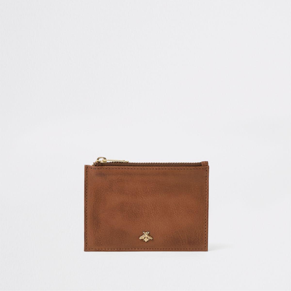 Brown zip bee card holder