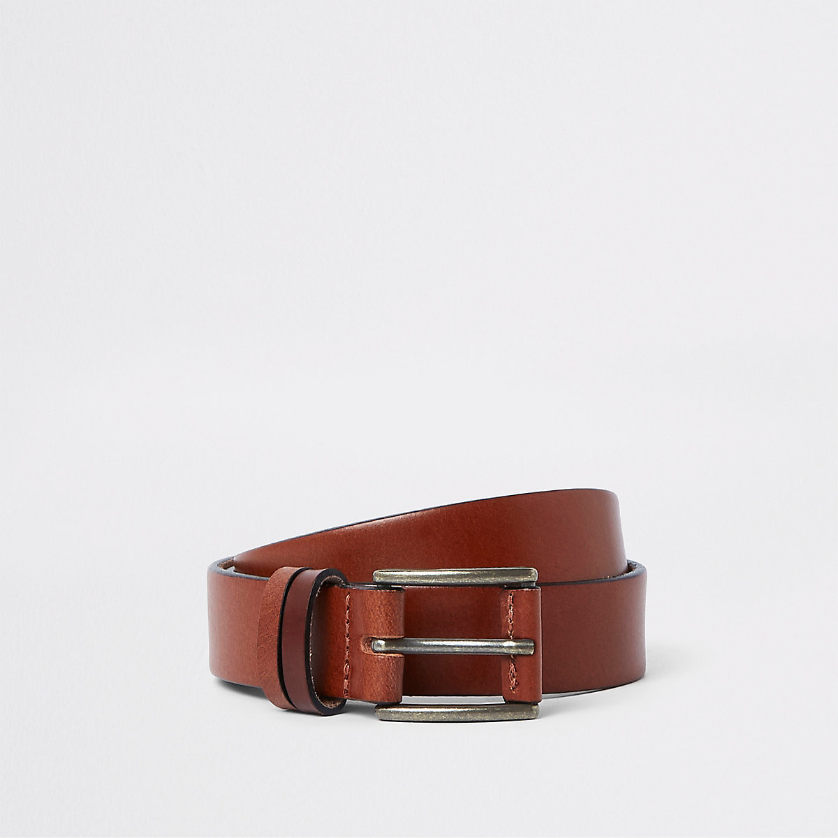 Brown leather buckle belt