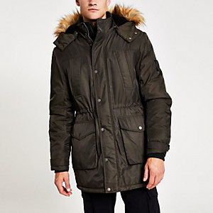Khaki faux fur hooded parka jacket
