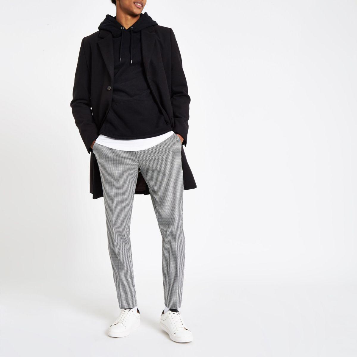 Black houndstooth check slim fit smart pants