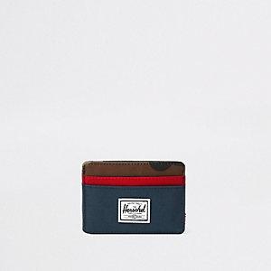 Herschel – Charlie – Porte-cartes imprimé camouflage bleu marine