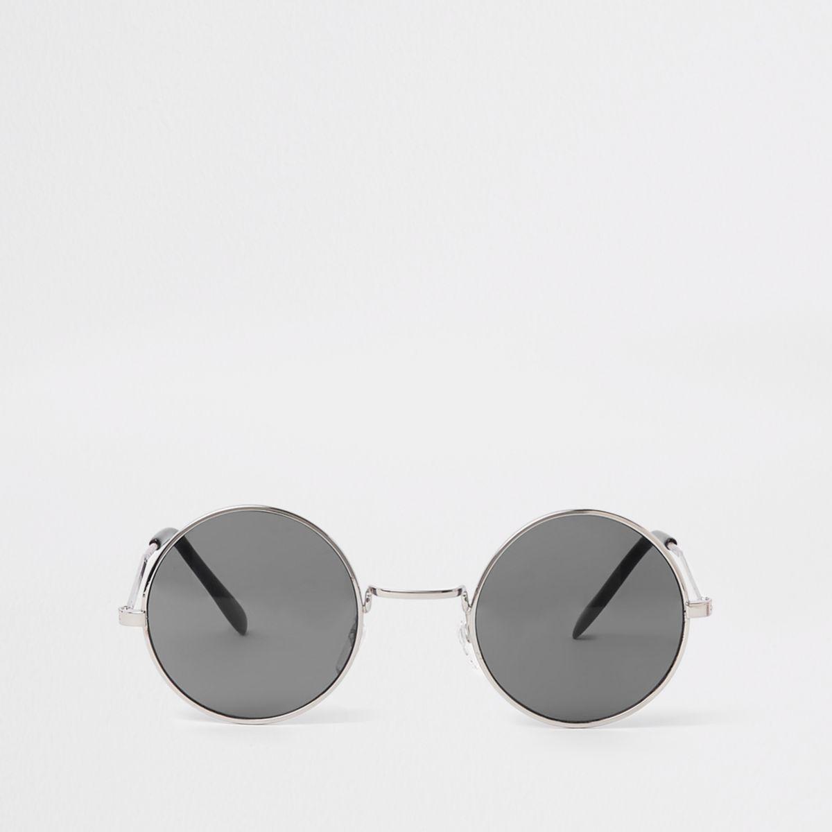 Silver tone black lens sunglasses