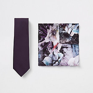 Purple satin tie and floral handkerchief set