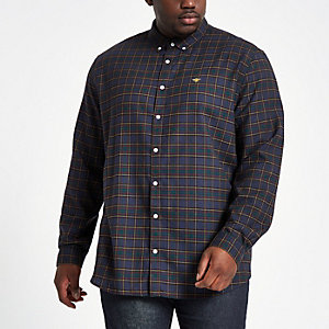 Big and Tall - Marineblauw geruit overhemd met knoopsluiting