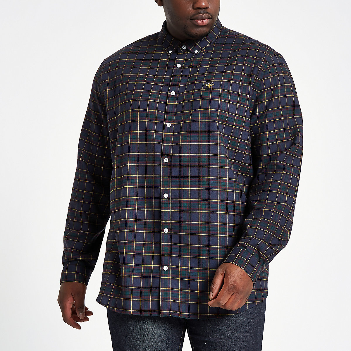 Big and Tall navy check button-down shirt