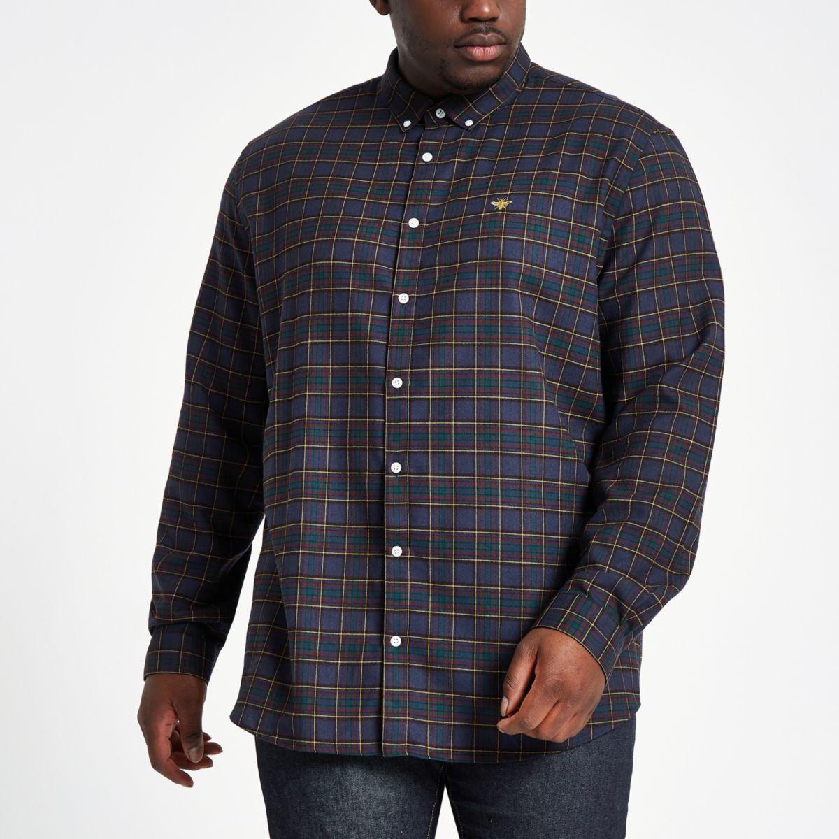 Big & Tall – Marineblau kariertes Hemd mit Knopfverschluss