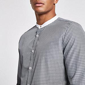 Grau kariertes, schmales Grandad-Hemd